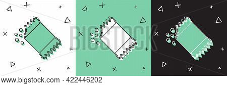 Set Packet Of Pepper Icon Isolated On White And Green, Black Background. Vector