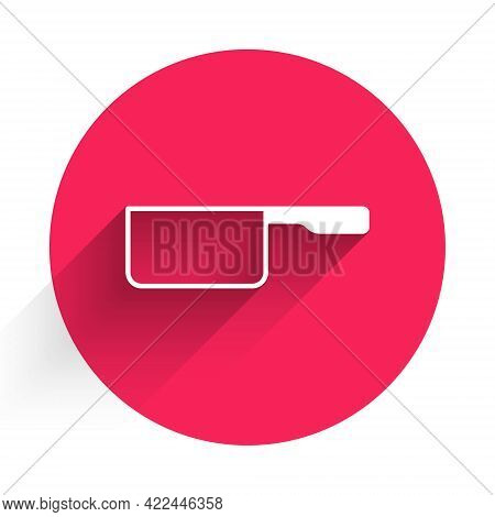 White Saucepan Icon Isolated With Long Shadow. Cooking Pot. Boil Or Stew Food Symbol. Red Circle But