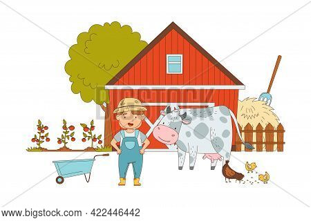 Little Boy In Overall And Straw Hat Standing In The Yard Near Barn With Livestock Vector Illustratio