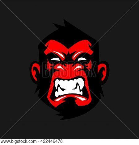 Gorilla Mascot Esport Logo Design. Gorilla Animal Mascot Vector Illustration Logo. Wild Angry Gorill