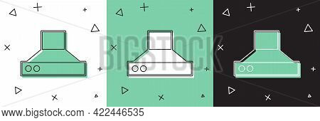 Set Kitchen Extractor Fan Icon Isolated On White And Green, Black Background. Cooker Hood. Kitchen E