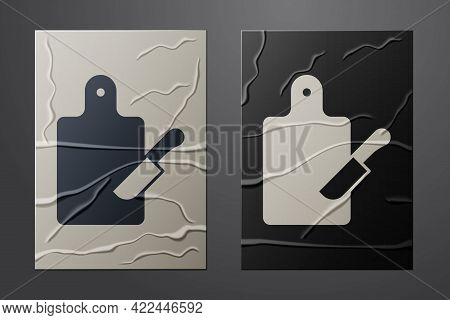 White Cutting Board And Knife Icon Isolated On Crumpled Paper Background. Chopping Board Symbol. Cut