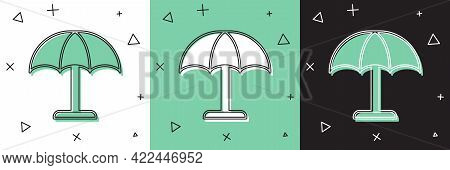 Set Sun Protective Umbrella For Beach Icon Isolated On White And Green, Black Background. Large Para