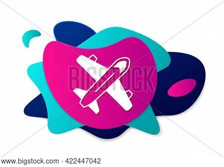 Color Plane Icon Isolated On White Background. Flying Airplane Icon. Airliner Sign. Abstract Banner