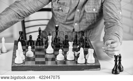 Intellectual Hobby. Figures On Wooden Chess Board. Thinking About Next Step. Strategy Concept. Schoo