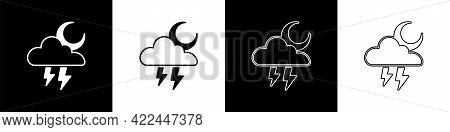 Set Storm Icon Isolated On Black And White Background. Cloud With Lightning And Moon Sign. Weather I