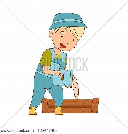 Little Boy In Overall Pouring Fodder In Wooden Crate Vector Illustration