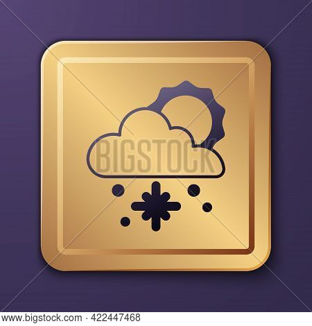 Purple Cloud With Snow And Sun Icon Isolated On Purple Background. Cloud With Snowflakes. Single Wea