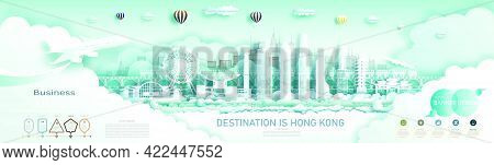 Travel Hong Kong Top World Modern Skyscraper And Famous City Architecture. Modern Business Brochure