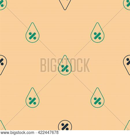 Green And Black Water Drop Percentage Icon Isolated Seamless Pattern On Beige Background. Humidity A