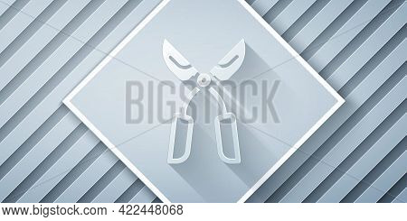 Paper Cut Gardening Handmade Scissors For Trimming Icon Isolated On Grey Background. Pruning Shears