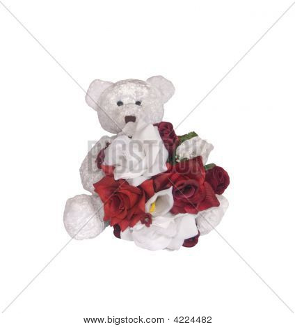 Teddy Bear And Silk Flowers