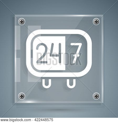 White Clock 24 Hours Icon Isolated On Grey Background. All Day Cyclic Icon. 24 Hours Service Symbol.
