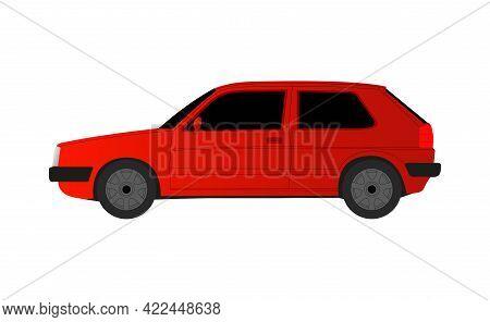 Red Golf Sedan Car On White Background - Vector Illustration