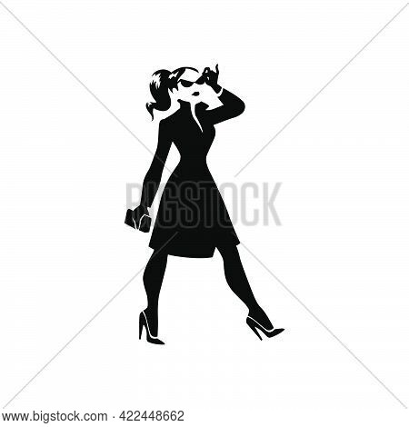 Beautiful Young Lady Portrait Isolated. Awesome Model In Stylish Coat Black Hand Drawn Silhouette. V