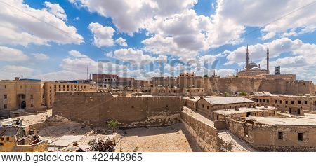 Day Panoramic View Of Cairo Citadel Square, Including The Great Mosque Of Muhammad Ali Pasha, Citade
