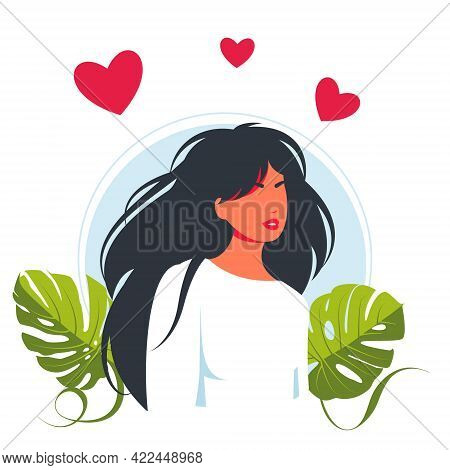 Young Beautiful Woman In Love, Hearts Overhead.positive Lady Expressing Self Love And Care. Vector I