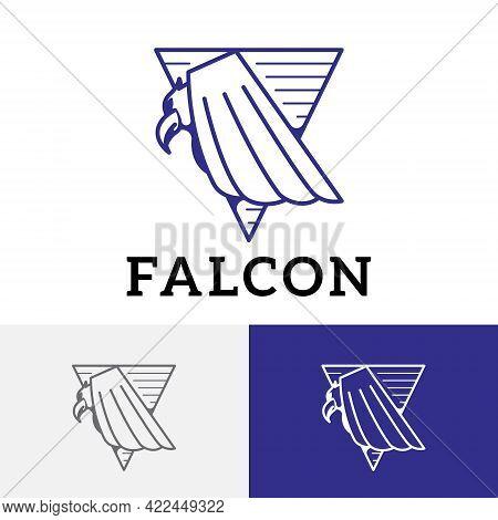 Falcon Eagle Hawk Predator Bird Triangle Logo Symbol