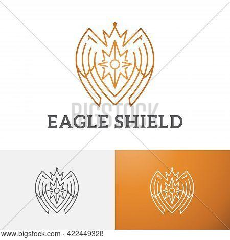 Golden Eagle Falcon Bird Shield Crown Line Logo Symbol