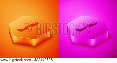 Isometric Plane Icon Isolated On Orange And Pink Background. Flying Airplane Icon. Airliner Sign. He