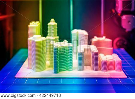 Architectural model printed in a 3D printer. 3D dimensional.