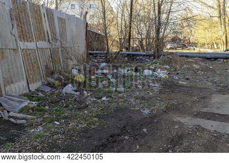 Kokshetau - Kazakhstan - April 15, 2021: Big Pile Of Trash Or Garbage In Residencial District Next R