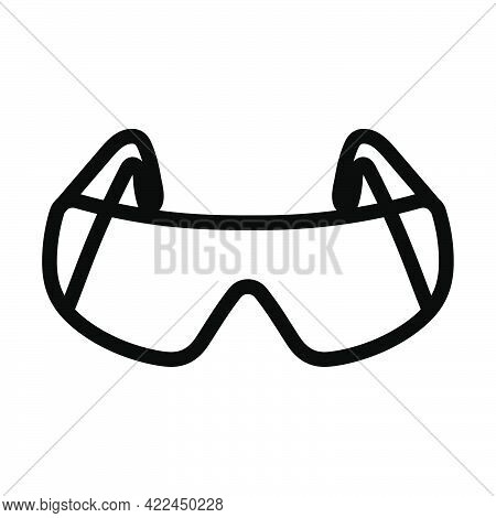 Icon Of Chemistry Protective Eyewear. Editable Bold Outline Design. Vector Illustration.