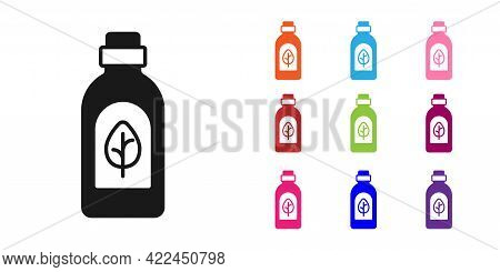 Black Essential Oil Bottle Icon Isolated Black Background. Organic Aromatherapy Essence. Skin Care S