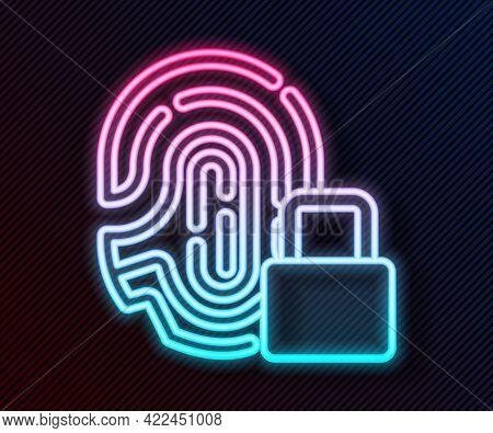 Glowing Neon Line Fingerprint With Lock Icon Isolated On Black Background. Id App Icon. Identificati