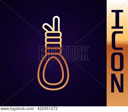 Gold Line Gallows Rope Loop Hanging Icon Isolated On Black Background. Rope Tied Into Noose. Suicide