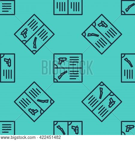 Black Line Weapon Catalog Icon Isolated Seamless Pattern On Green Background. Police Or Military Han