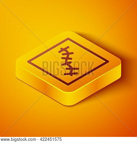 Isometric Line Scar With Suture Icon Isolated On Orange Background. Yellow Square Button. Vector
