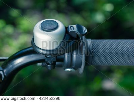 Bicycle Bell Close Up. Bicycle Wheel. Bicycle Handle.