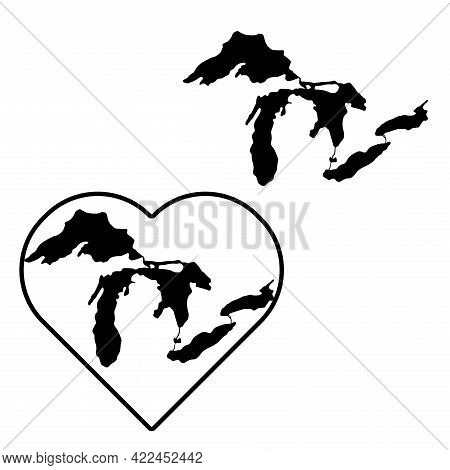 Map Of Great Lakes. The Geographical Silhouette Of The Lakes In The Northern United States Is In The