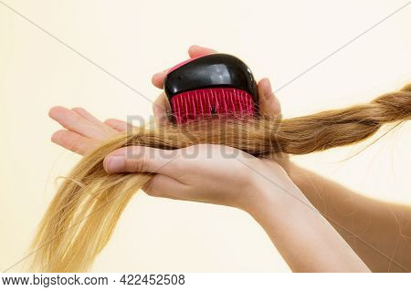 Blonde Girl With Long Braid Hair And Brush. Girl Taking Care Refreshing Her Hairstyle. Haircare Conc