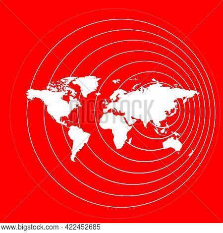 Illustration Of The Spread Of The Virus Around The World. Coronavirus Distribution Map. Distribution