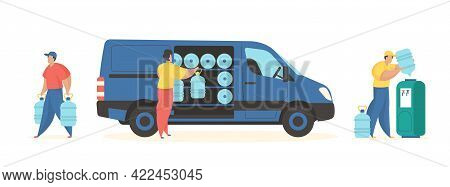 Bottled Water Delivery Service. Male Characters Take Out Plastic Tanks With Mineral Water From Car A