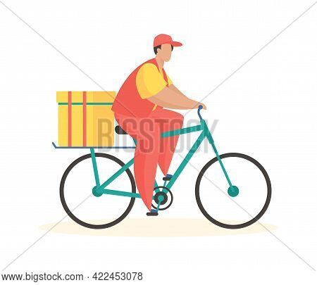 Bicycle Courier Delivery. Comfortable Mobile Shipping With Online Logistics. Man In Uniform On Bike