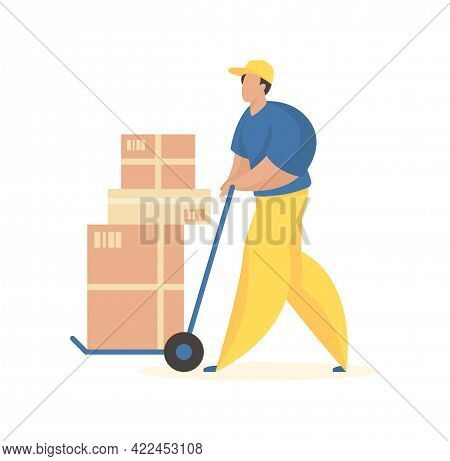 Unloading Boxes With Goods. Male Character In Uniform With Wheelbarrow Carrying Crates. Cargo Delive