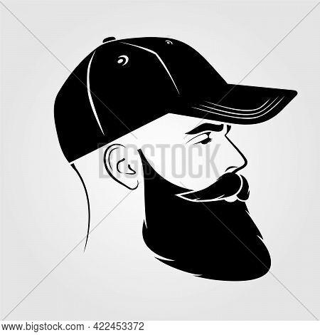 Bearded Handsome Men In A Baseball Cap.