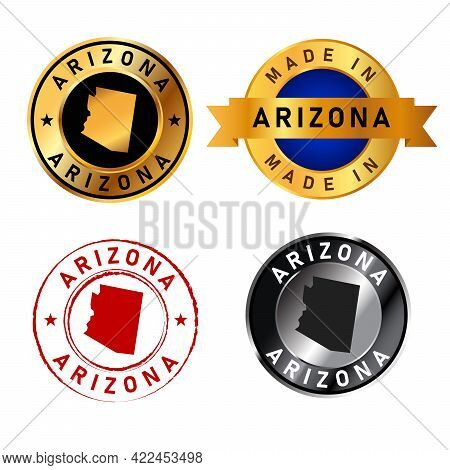 Arizona Badges Gold Stamp Rubber Band Circle With Map Shape Of Country States America