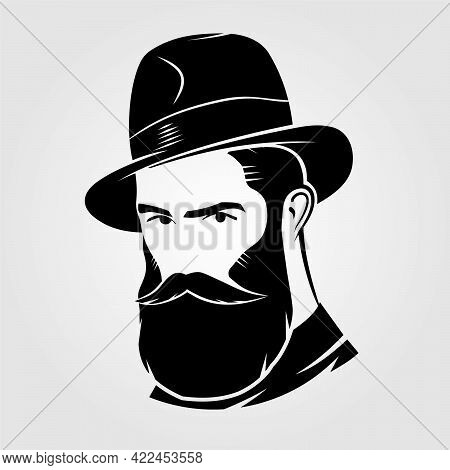 Bearded Handsome Men In A Fedora Hat.