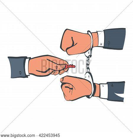 Break Free Sketch Design. Prisoner Release. Freedom Concept. Man In Handcuffs. Key Is In The Hands O