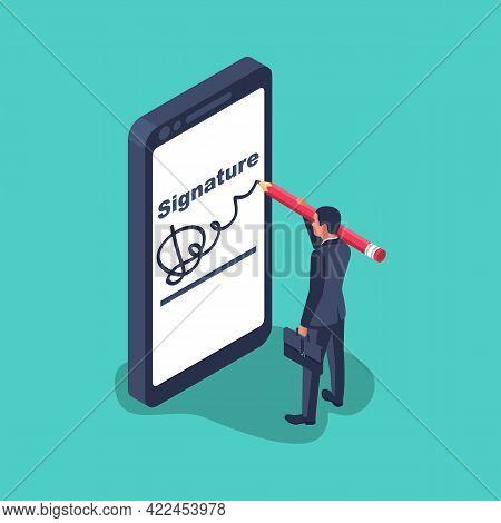 Digital Signature On Smartphone.vector Illustration Isometric 3d Design.businessman Hands Holding A