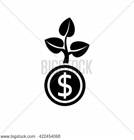 Money Growth Black Icon. Investment Concept. Finance And Money. Business Growing Up. Vector Illustra