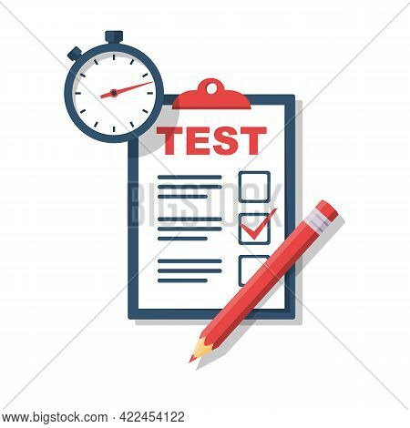 Test Time Concept. Clipboard With Dough Form, Pencil, And Stopwatch. Vector Illustration, Flat Desig