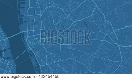 Blue Liverpool City Area Vector Background Map, Streets And Water Cartography Illustration. Widescre