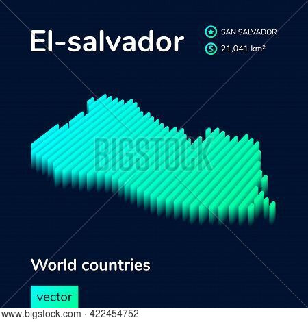 Vector Digital Neon Isometric Striped Contour El-salvador Map With Information About Country. Geogra