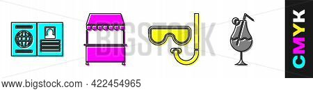 Set Passport, Street Stall With Awning, Diving Mask And Snorkel And Cocktail And Alcohol Drink Icon.