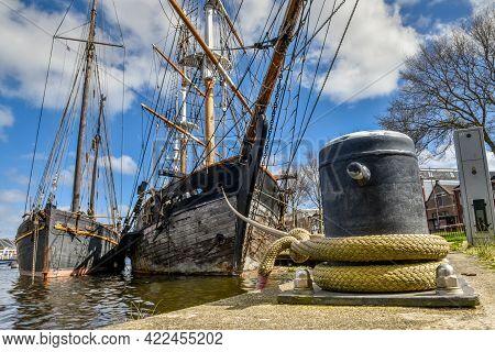 Den Helder, Netherlands. May 2021. Old Clipper Moored At The Quay Of Willemsoord, A Former Shipyard